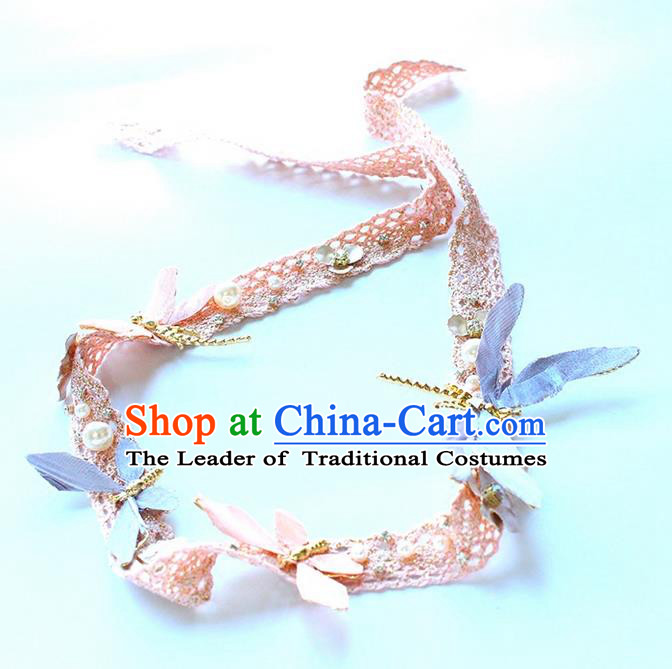 Top Grade Handmade Wedding Bride Hair Accessories Hair Clasp, Traditional Princess Wedding Pearl Lace Hair Band Headwear for Women