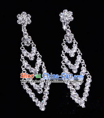 Chinese Ancient Peking Opera Head Accessories Young Lady Diva Crystal Earrings, Traditional Chinese Beijing Opera Hua Tan Eardrop