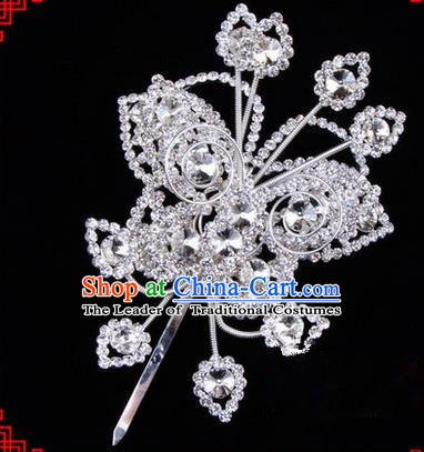 Chinese Ancient Peking Opera Head Accessories Diva Crystal Butterfly Hairpins White Step Shake, Traditional Chinese Beijing Opera Princess Hua Tan Hair Clasp Head-ornaments