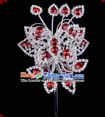 Chinese Ancient Peking Opera Head Accessories Diva Crystal Butterfly Hairpins Red Step Shake, Traditional Chinese Beijing Opera Princess Hua Tan Hair Clasp Head-ornaments