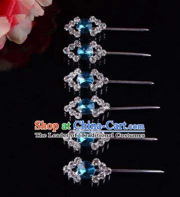 Chinese Ancient Peking Opera Head Accessories Diva Blue Crystal Hairpins Rhombus Step Shake, Traditional Chinese Beijing Opera Princess Hua Tan Hair Clasp Head-ornaments