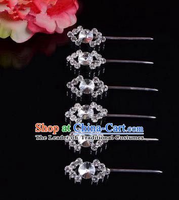 Chinese Ancient Peking Opera Head Accessories Diva White Crystal Hairpins Rhombus Step Shake, Traditional Chinese Beijing Opera Princess Hua Tan Hair Clasp Head-ornaments