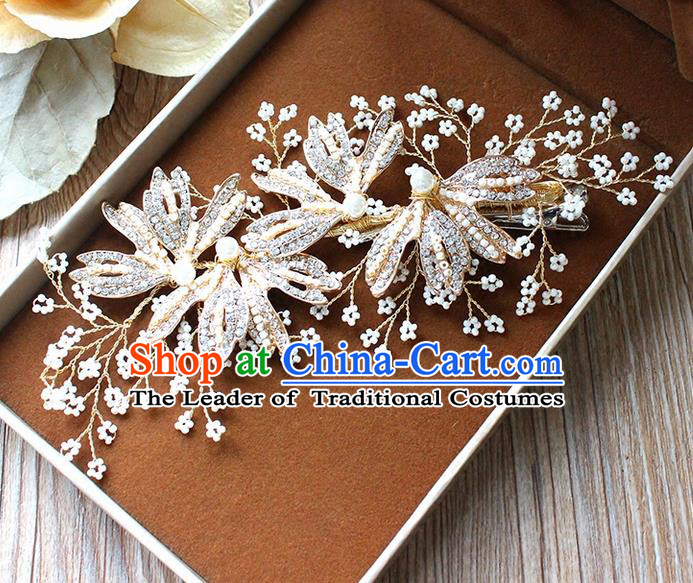 Top Grade Handmade Wedding Bride Hair Accessories Beads Hair Clasp, Traditional Princess Wedding Pearl Hair Stick Headwear for Women