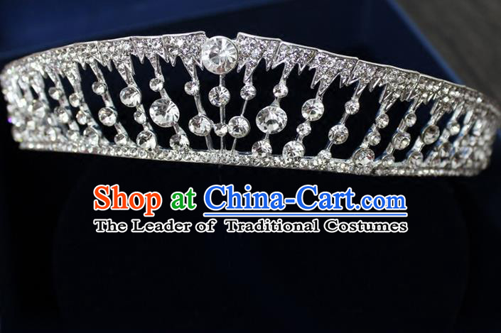 Top Grade Handmade Wedding Bride Hair Accessories Luxury CZ Diamond Crown, Traditional Baroque Princess Crystal Royal Crown Wedding Headwear for Women