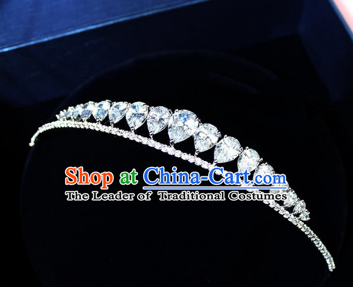 Top Grade Handmade Wedding Bride Hair Accessories Luxury Zircon Crown, Traditional Baroque Princess Crystal Royal Crown Wedding Headwear for Women