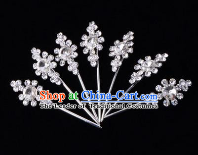 Chinese Ancient Peking Opera Head Accessories Diva White Crystal Hairpins Step Shake, Traditional Chinese Beijing Opera Princess Hua Tan Hair Clasp Head-ornaments