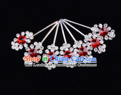 Chinese Ancient Peking Opera Head Accessories Diva Red Crystal Hairpins Step Shake, Traditional Chinese Beijing Opera Princess Hua Tan Hair Clasp Head-ornaments