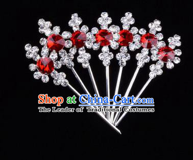 Chinese Ancient Peking Opera Head Accessories Diva Red Crystal Hairpins, Traditional Chinese Beijing Opera Princess Hua Tan Hair Clasp Head-ornaments