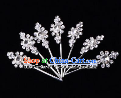 Chinese Ancient Peking Opera Head Accessories Diva White Crystal Hairpins, Traditional Chinese Beijing Opera Princess Hua Tan Hair Clasp Head-ornaments