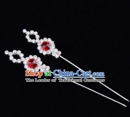 Chinese Ancient Peking Opera Head Accessories Diva Red Crystal Hairpins, Traditional Chinese Beijing Opera Princess Hua Tan Hair Clasp Head-ornaments GuDuo Needle