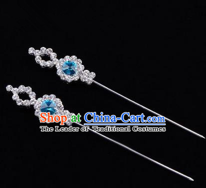Chinese Ancient Peking Opera Head Accessories Diva Blue Crystal Hairpins, Traditional Chinese Beijing Opera Princess Hua Tan Hair Clasp Head-ornaments GuDuo Needle