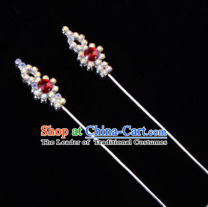 Chinese Ancient Peking Opera Head Accessories Diva Colorful Red Crystal Hairpins, Traditional Chinese Beijing Opera Princess Hua Tan Hair Clasp Head-ornaments GuDuo Needle