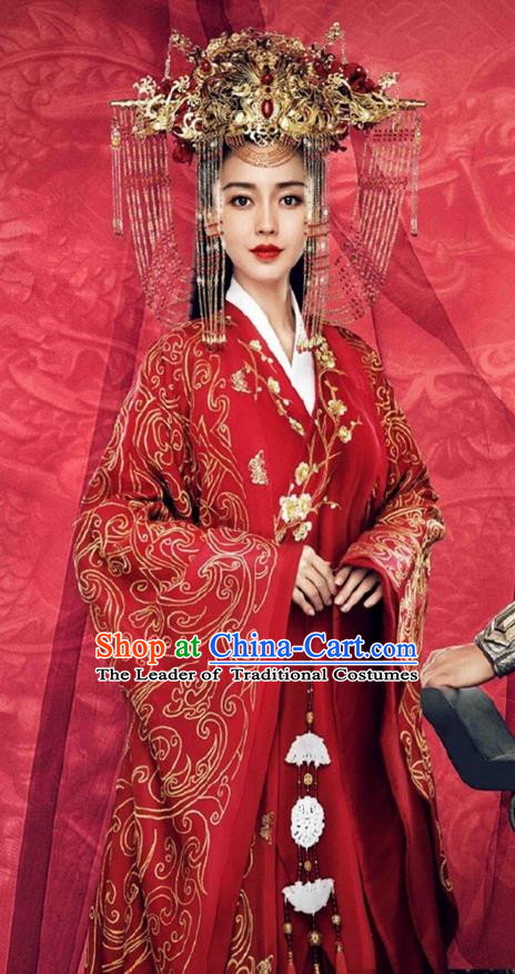 Traditional Chinese Imperial Princess Wedding Costume and Handmade Headpiece Complete Set, Chinese Style Ancient Hanfu Bride Wedding Embroidered Red Dress for Women