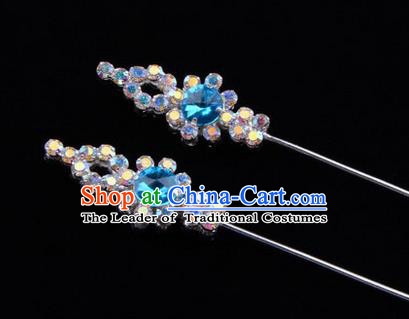 Chinese Ancient Peking Opera Head Accessories Diva Colorful Blue Crystal Hairpins, Traditional Chinese Beijing Opera Princess Hua Tan Hair Clasp Head-ornaments GuDuo Needle