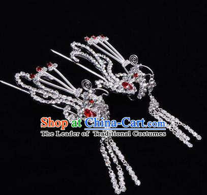 Chinese Ancient Peking Opera Head Accessories Diva Colorful Crystal Red Phoenix Tassel Hairpins, Traditional Chinese Beijing Opera Princess Hua Tan Hair Clasp Head-ornaments