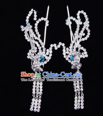 Chinese Ancient Peking Opera Head Accessories Diva Colorful Crystal Blue Phoenix Tassel Hairpins, Traditional Chinese Beijing Opera Princess Hua Tan Hair Clasp Head-ornaments
