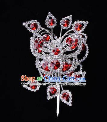 Chinese Ancient Peking Opera Head Accessories Diva Crystal Red Poppyhead Hairpins, Traditional Chinese Beijing Opera Princess Hua Tan Hair Clasp Head-ornaments
