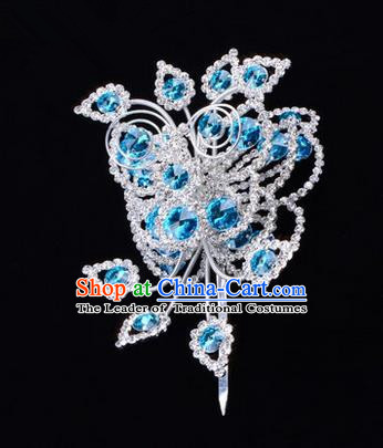 Chinese Ancient Peking Opera Head Accessories Diva Crystal Blue Poppyhead Hairpins, Traditional Chinese Beijing Opera Princess Hua Tan Hair Clasp Head-ornaments
