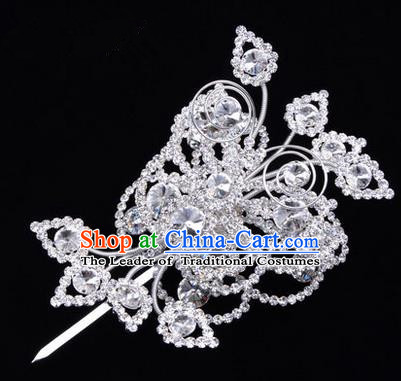 Chinese Ancient Peking Opera Head Accessories Diva Crystal White Poppyhead Hairpins, Traditional Chinese Beijing Opera Princess Hua Tan Hair Clasp Head-ornaments