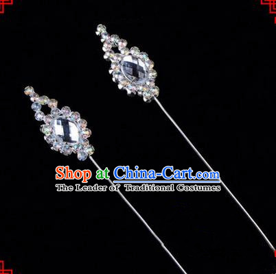 Chinese Ancient Peking Opera Head Accessories Diva White Crystal Flower Bud Hairpins, Traditional Chinese Beijing Opera Princess Hua Tan Hair Clasp Head-ornaments