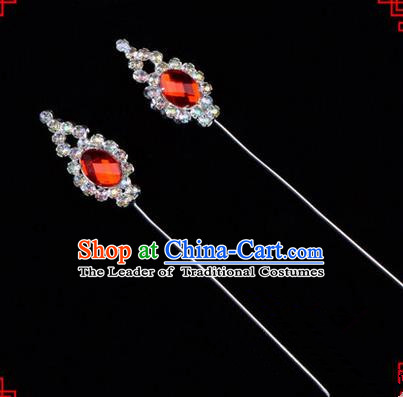 Chinese Ancient Peking Opera Head Accessories Diva Red Crystal Flower Bud Hairpins, Traditional Chinese Beijing Opera Princess Hua Tan Hair Clasp Head-ornaments