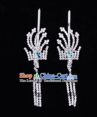 Chinese Ancient Peking Opera Head Accessories Diva Crystal Blue Tassel Hairpins, Traditional Chinese Beijing Opera Princess Hua Tan Hair Clasp Head-ornaments