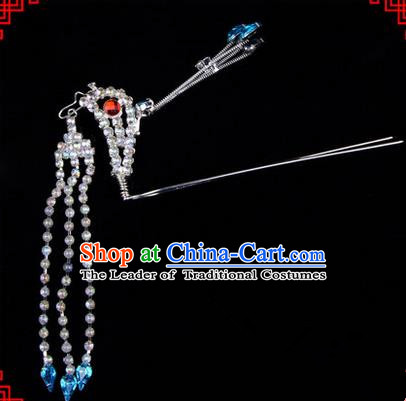 Chinese Ancient Peking Opera Head Accessories Diva Blue Crystal Long Tassel Phoenix Hairpins, Traditional Chinese Beijing Opera Princess Hua Tan Hair Clasp Head-ornaments