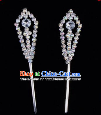 Chinese Ancient Peking Opera Head Accessories Diva White Crystal Pointed Temples Hairpins, Traditional Chinese Beijing Opera Princess Hua Tan Hair Clasp Head-ornaments