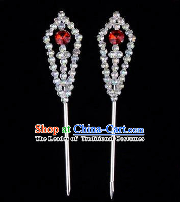 Chinese Ancient Peking Opera Head Accessories Diva Red Crystal Pointed Temples Hairpins, Traditional Chinese Beijing Opera Princess Hua Tan Hair Clasp Head-ornaments