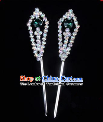 Chinese Ancient Peking Opera Head Accessories Diva Green Crystal Pointed Temples Hairpins, Traditional Chinese Beijing Opera Princess Hua Tan Hair Clasp Head-ornaments
