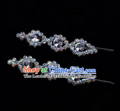 Chinese Ancient Peking Opera Head Accessories Diva White Beads Crystal Hairpins, Traditional Chinese Beijing Opera Princess Hua Tan Hair Clasp Head-ornaments