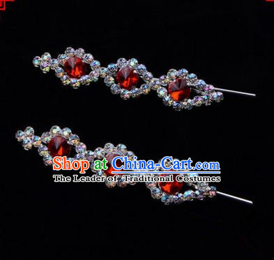 Chinese Ancient Peking Opera Head Accessories Diva Red Beads Crystal Hairpins, Traditional Chinese Beijing Opera Princess Hua Tan Hair Clasp Head-ornaments