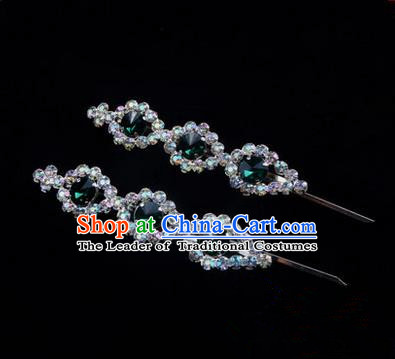 Chinese Ancient Peking Opera Head Accessories Diva Green Beads Crystal Hairpins, Traditional Chinese Beijing Opera Princess Hua Tan Hair Clasp Head-ornaments