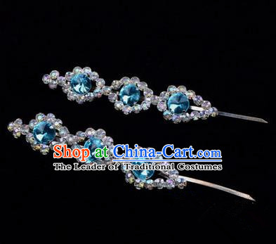 Chinese Ancient Peking Opera Head Accessories Diva Blue Beads Crystal Hairpins, Traditional Chinese Beijing Opera Princess Hua Tan Hair Clasp Head-ornaments