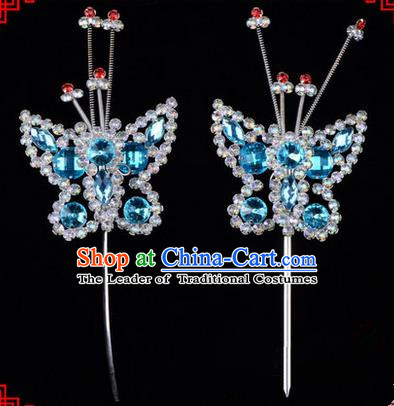 Chinese Ancient Peking Opera Head Accessories Diva Blue Crystal Beads Butterfly Hairpins, Traditional Chinese Beijing Opera Princess Hua Tan Hair Clasp Head-ornaments