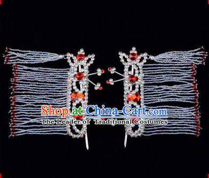 Chinese Ancient Peking Opera Hair Accessories Young Lady Diva Red Crystal Hairpins Tassel Temples Curtain, Traditional Chinese Beijing Opera Hua Tan Head Ornaments