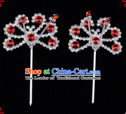 Chinese Ancient Peking Opera Hair Accessories Young Lady Diva Red Crystal Beads Hairpins, Traditional Chinese Beijing Opera Hua Tan Head Ornaments Hair Clasp