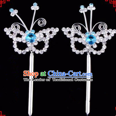 Chinese Ancient Peking Opera Head Accessories Diva Blue Crystal Hairpins, Traditional Chinese Beijing Opera Princess Hua Tan Butterfly Hair Clasp Head-ornaments