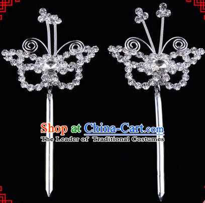 Chinese Ancient Peking Opera Head Accessories Diva White Crystal Hairpins, Traditional Chinese Beijing Opera Princess Hua Tan Butterfly Hair Clasp Head-ornaments