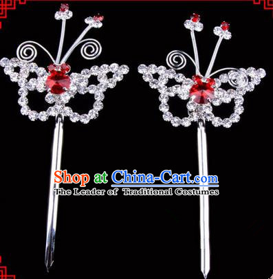 Chinese Ancient Peking Opera Head Accessories Diva Red Crystal Hairpins, Traditional Chinese Beijing Opera Princess Hua Tan Butterfly Hair Clasp Head-ornaments