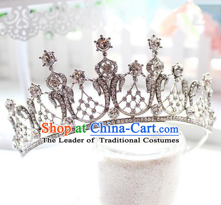 Top Grade Handmade Wedding Bride Hair Accessories Luxury Queen Crown, Traditional Baroque Princess Crystal Royal Crown Wedding Headwear for Women