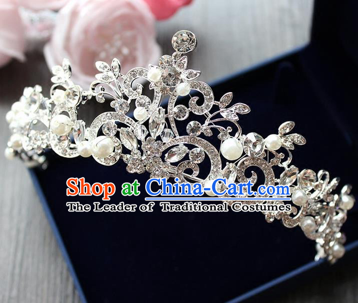 Top Grade Handmade Wedding Hair Accessories Bride Luxury Crystal Crown, Traditional Baroque Princess Pearl Royal Crown Wedding Headwear for Women
