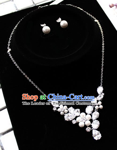 Top Grade Handmade China Wedding Bride Accessories Zircon Necklace and Pearl Earrings, Traditional Princess Wedding Crystal Jewelry for Women