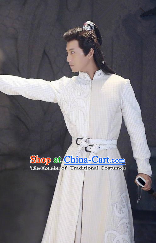 Traditional Chinese Ancient Tang Dynasty Swordsman Costumes and Handmade Headpiece Complete Set, Fighter of the Destiny Prince Hanfu Clothing for Men