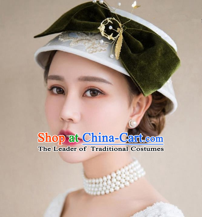 Top Grade Handmade Wedding Bride Hair Accessories Headwear Top Hat, Traditional Princess Baroque Vintage Bows Hats Headpiece for Women