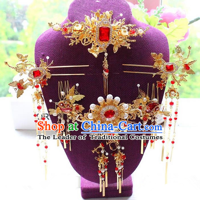 Top Grade Chinese Handmade Wedding Red Jade Hair Accessories Complete Set, Traditional China Xiuhe Suit Bride Phoenix Coronet Tassel Hair Comb Headwear for Women