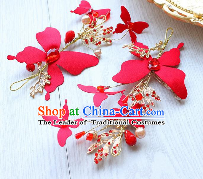 Top Grade Handmade Wedding Bride Hair Accessories Red Butterfly Headwear, Traditional Princess Baroque Hair Stick Headpiece for Women