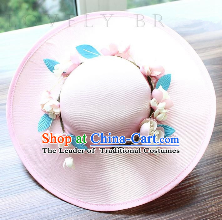 Top Grade Handmade Wedding Bride Hair Accessories Flowers Hat, Traditional Princess Baroque Top Hats Pink Topee Headpiece for Women