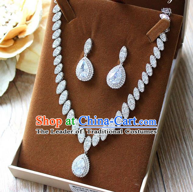 Top Grade Handmade China Wedding Bride Accessories Zircon Necklace and Earrings, Traditional Princess Wedding Crystal Earbob Jewelry for Women