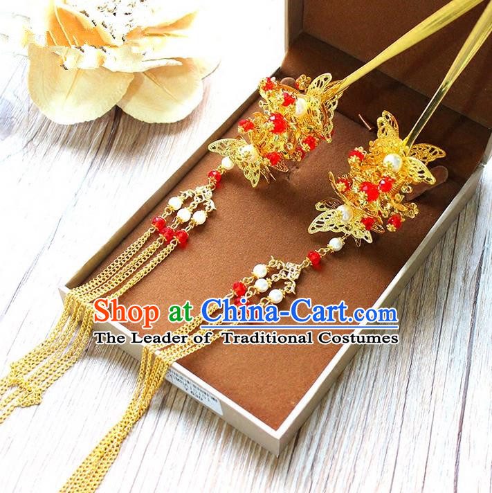 Top Grade Chinese Handmade Wedding Agate Beads Hair Accessories, Traditional China Xiuhe Suit Bride Tassel Butterfly Hairpins Headwear for Women